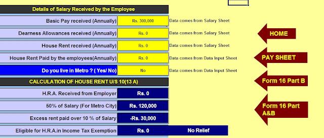 Income Tax H.R.A. Exemption Calculator U/s10(13A)