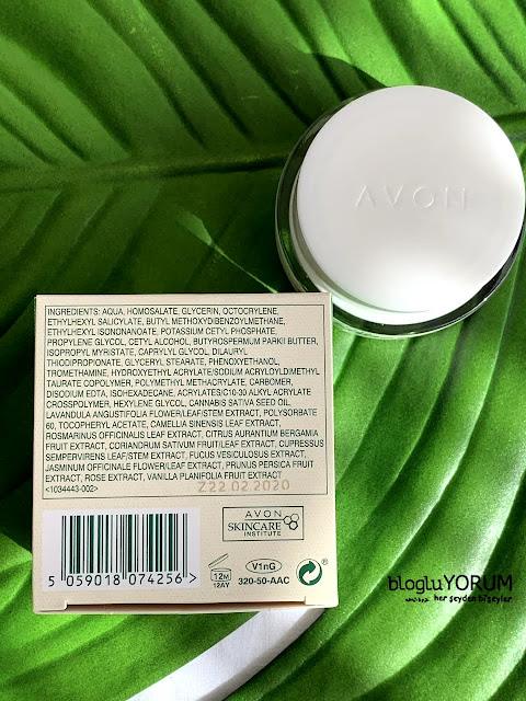 Avon Cannabis Sativa Oil Protect Calm Kenevir Yağı Gündüz Kremi içerik