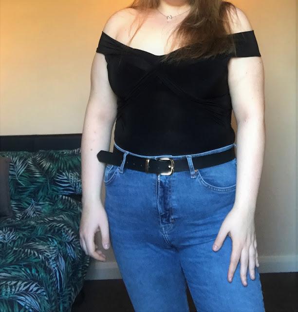 Femme Luxe Black Bardot Twisted Front Bodysuit - Ivanna