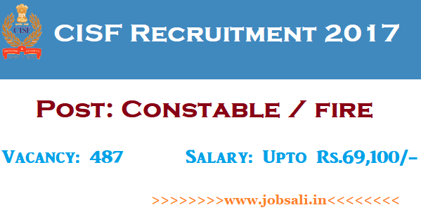 CISF Vacancy, CISF Jobs, CISF Constable Recruitment 2017