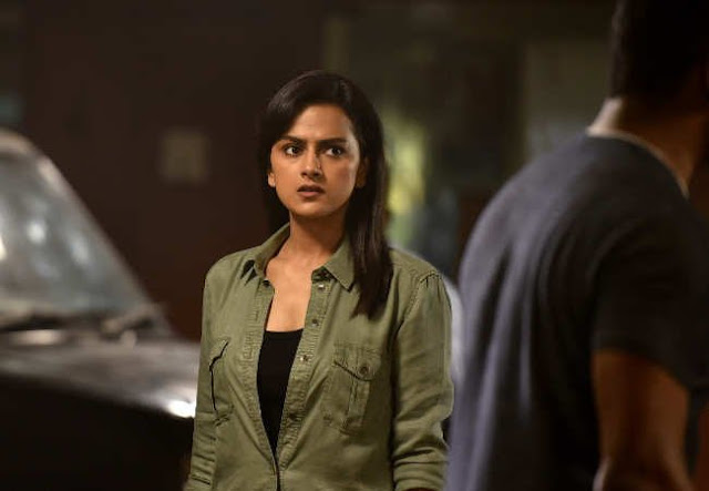 Actress Shraddha srinath exposing boobs shape in Chakra movie hot HQ stills gallery