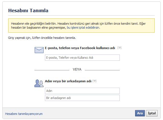 zargana calinan facebook hesabi nasil geri alinir