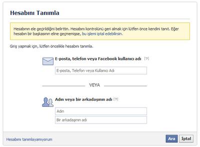 Facebook hesabınıza ait bilgileri girin