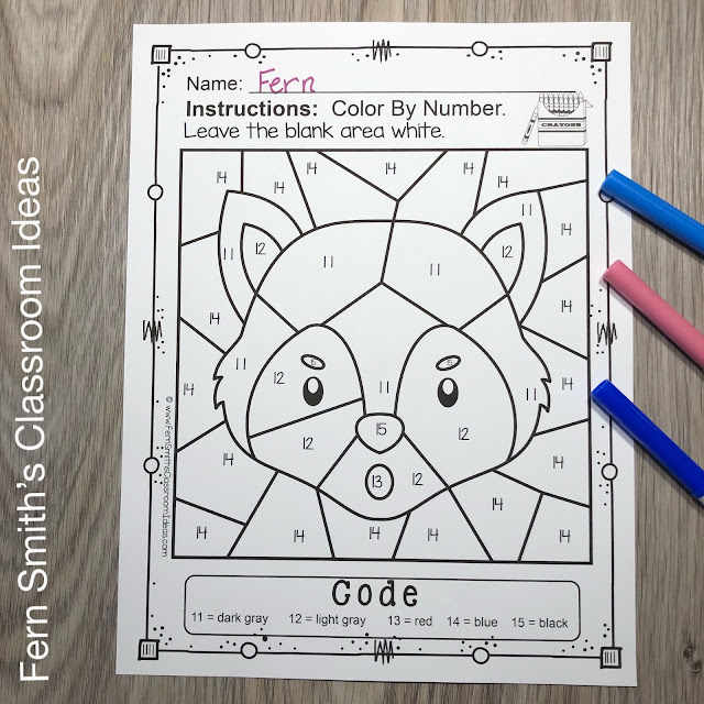 Three Little Pigs Color By Number Remediation Know Your Numbers 11 to 15 Worksheets Resource #FernSmithsClassroomIdeas