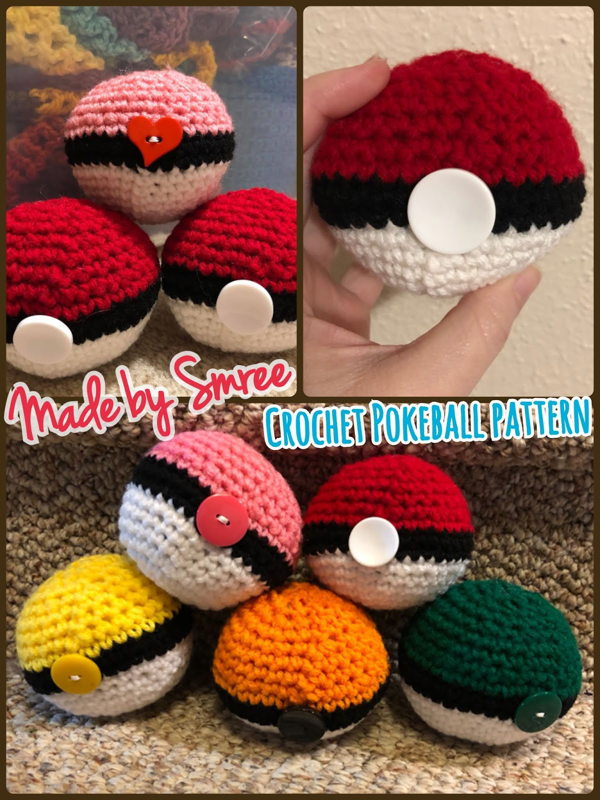 Make It: Poke'ball - Free Crochet Pattern #crochet #amigurumi ... | 1600x1200