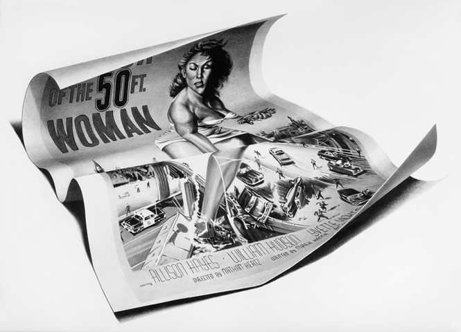 02-Attack-of-the-50-ft-Woman-Christina-Empedocles-Pencil-Drawings-Illusions-that-Look-3D-www-designstack-co