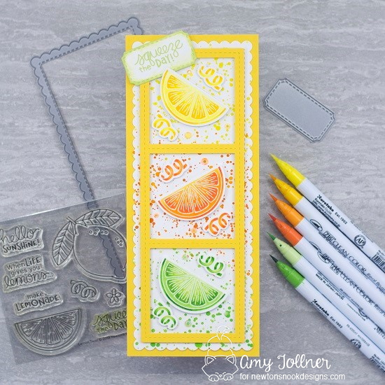 Squeeze the day by Amy features Lemon Twist, Slimline Frames & Portholes, Slimline Frames & Windows, and Framework by Newton's Nook Designs; #inkypaws, #newtonsnook, #cardmaking