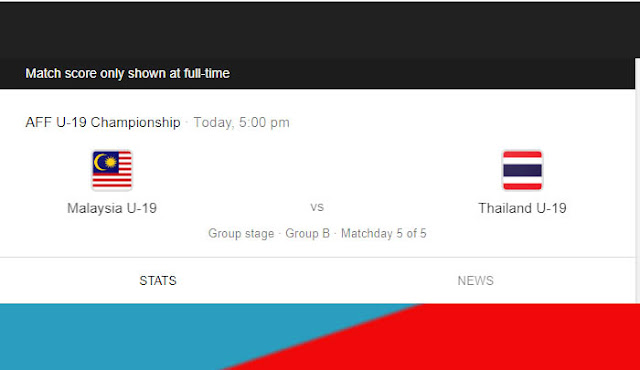 Live Streaming Malaysia vs Thailand (15.8.2019) AFF U18