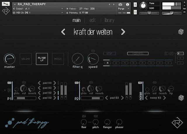 Interface da Library Rigid Audio - Pad Therapy (KONTAKT)
