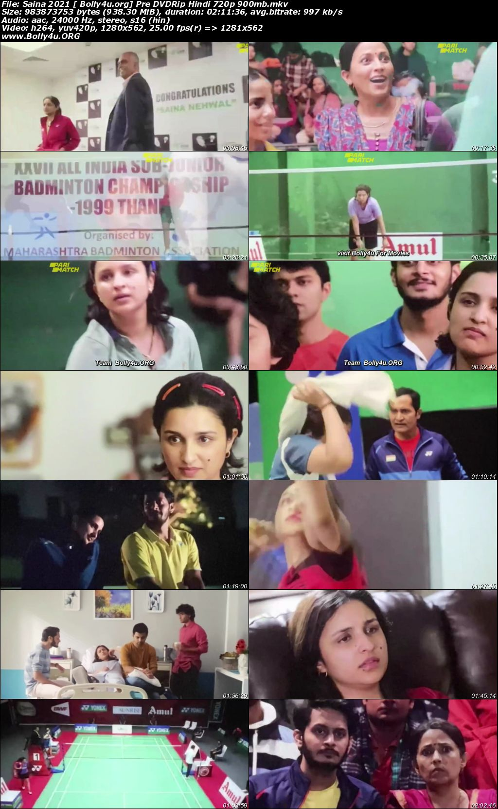 Saina 2021 Pre DVDRip 900Mb Hindi Movie Download 720p