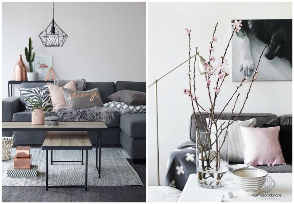 Déco: Inspiration en gris et rose