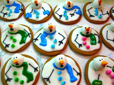 Cookies decorated with icing and marshmallow for head to make snowmen