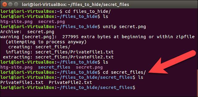 Wie eine Datei oder einen Ordner in einem Bild in Linux zu verbergen