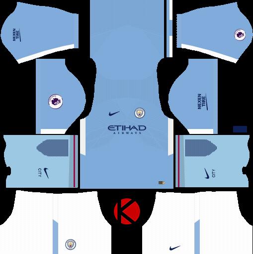 new styles e3893 9ef22 Manchester City Kits 2017/2018 - Dream League Soccer - Kuchalana
