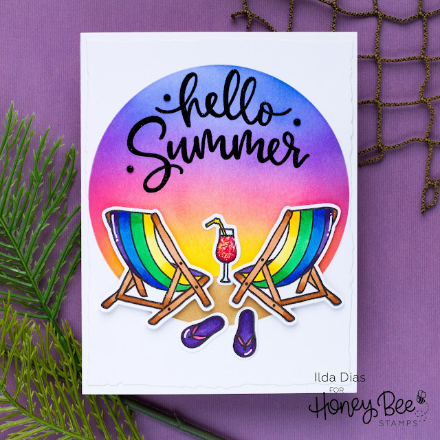 Hello Summer, Sneak Peeks, Summer Sunset, Honey Bee Stamps, Ink Blending, distress oxide inks, Card Making, Stamping, Die Cutting, handmade card, ilovedoingallthingscrafty, Stamps, how to,