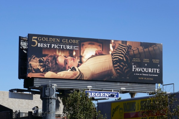The Favourite Golden Globe nominee billboard