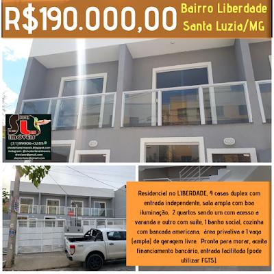 Residencial no LIBERDADE, 4 casas duplex com entrada independente, Liberdade/Santa Luzia/MG