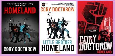 portadas de la novela de ciencia ficción distópica juvenil Homeland, de Cory Doctorow
