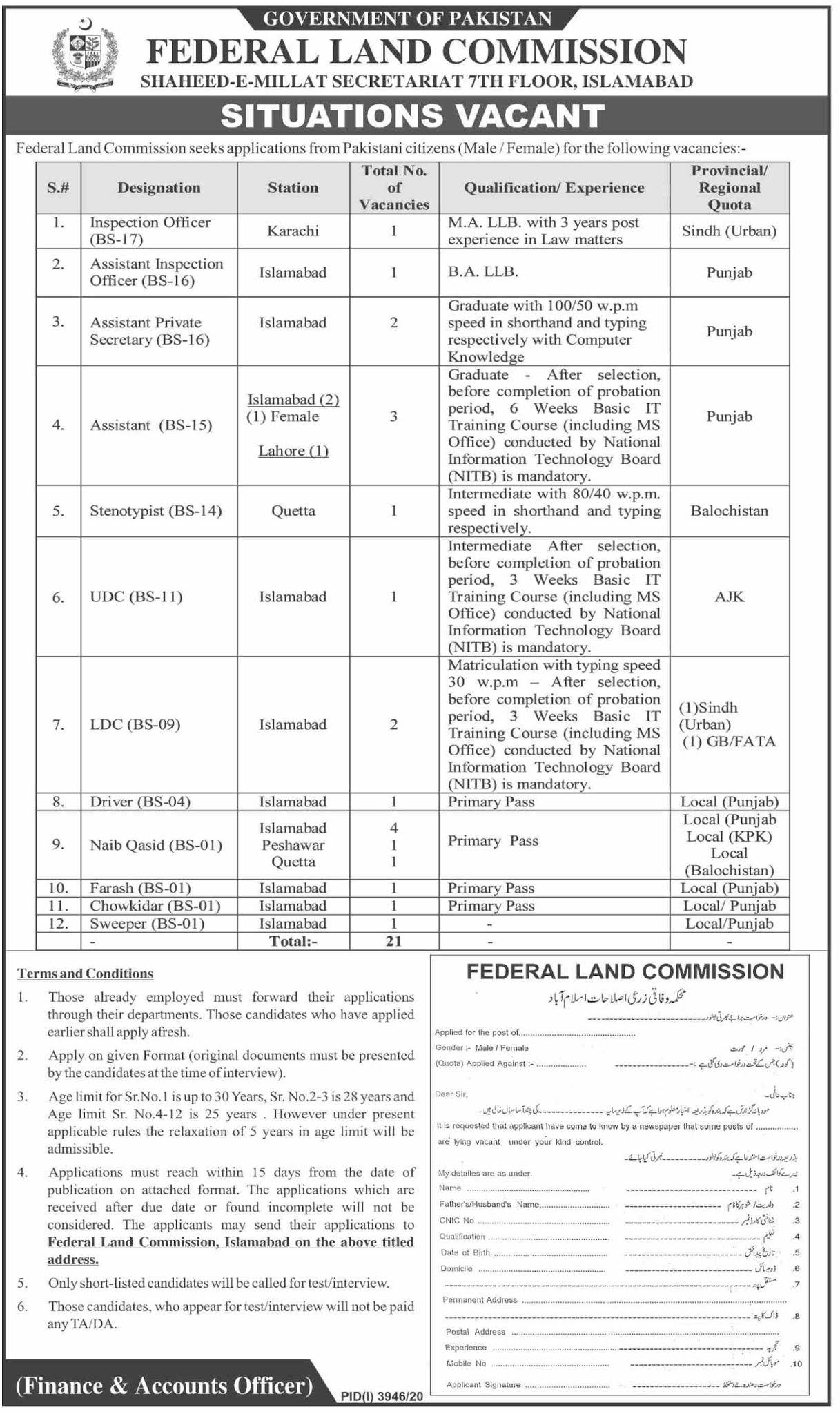Download Govt Jobs 2021 Application Form - Federal Land Commission Jobs 2021 - Latest Govt Jobs 2021