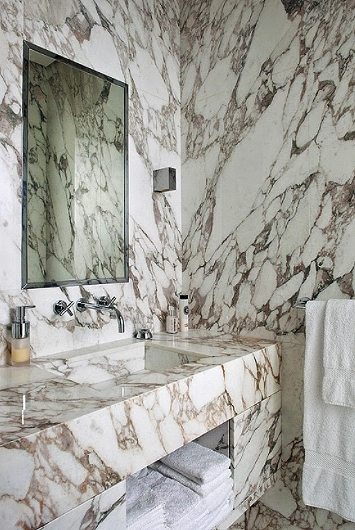 viened marble with marble carrara arasbescatto on walls, floor and vanity