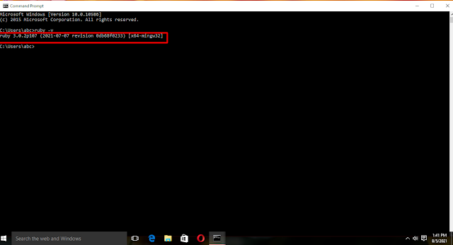 Ruby -v command ( to check ruby version on Windows 10) Ruby download and installation tutorial for Windows 10