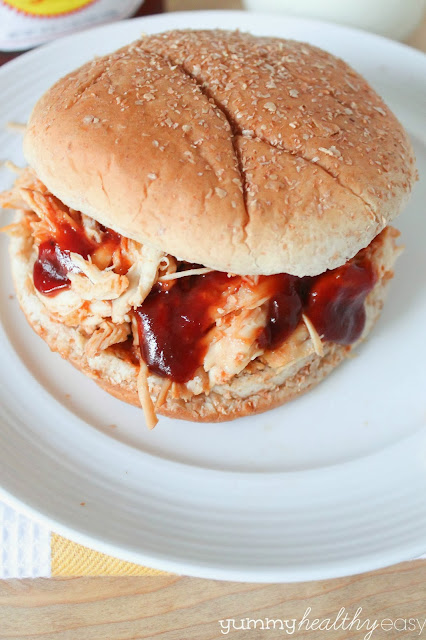 Slow Cooker Bbq Shredded Chicken Sandwiches Only 3 Ingredients Yummy Healthy Easy