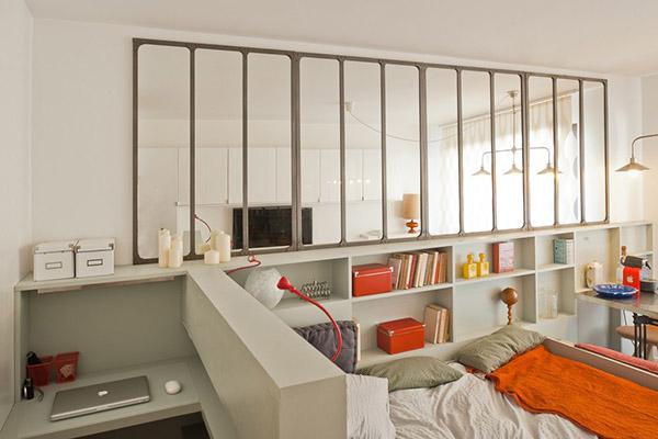 Sp cial petits espaces d coration r tro dans un studio for Rangement petit espace