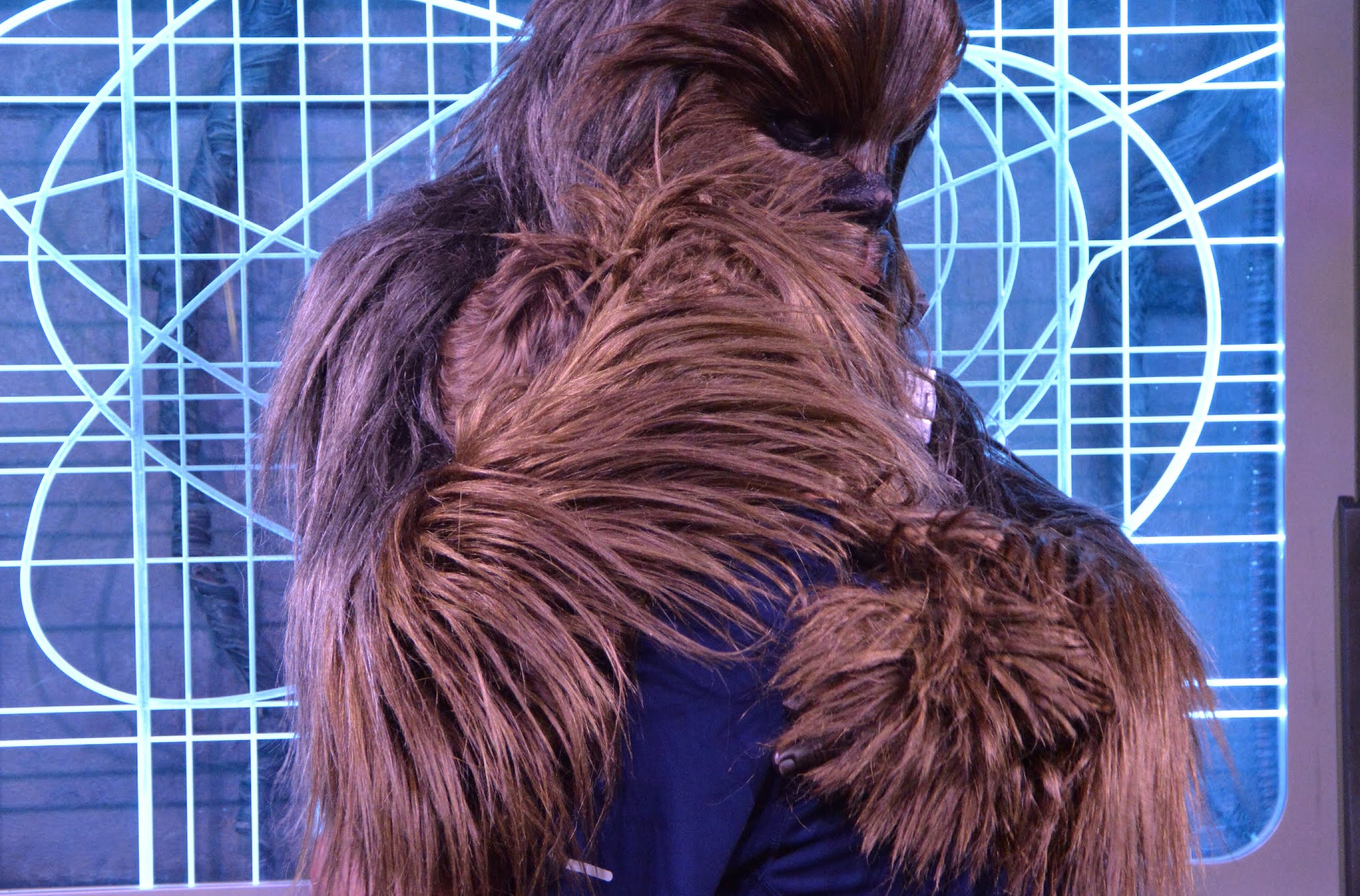 boy hugging a wookie