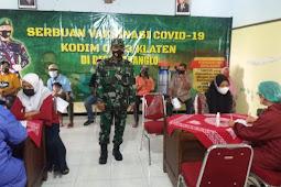 Danramil 06/Kebonarum Laksanakan Monitoring Serbuan Vaksin Di Desa Karanglo