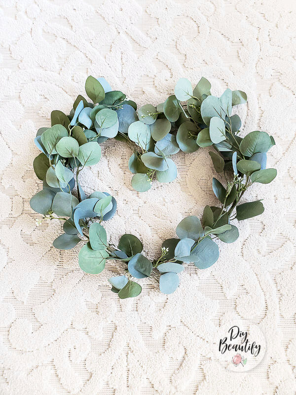 DIY eucalyptus heart wreath
