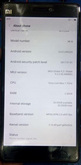 Xiaomi Mi 4i 2015015 Global Hang Logo Slove Firmware Tested