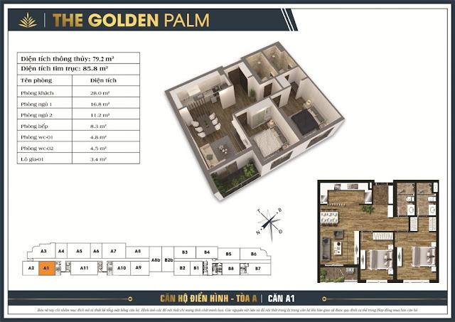 Thiết kế căn A01 - Tòa A chung cư THE GOLDEN PALM