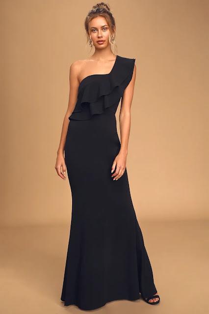 Grand Beauty Black Ruffled One-Shoulder Mermaid Maxi Dress-KMich Weddings