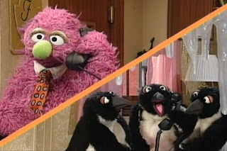 Humphrey talks on the phone to three penguins. Penguins order fish. Sesame Street 123 Count with Me