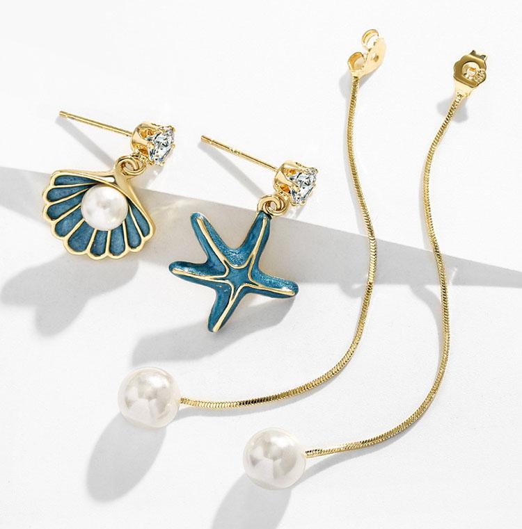 海潮之聲擬珍珠貝殼兩戴式流蘇耳環