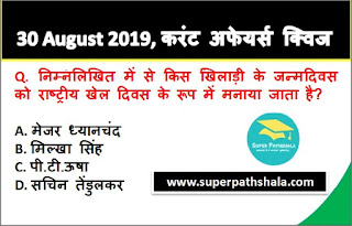 Daily Current Affairs Quiz 30 August 2019 in Hindi