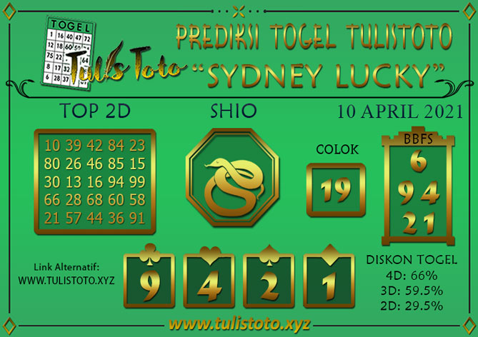 Prediksi Togel SYDNEY LUCKY TODAY TULISTOTO 10 APRIL 2021