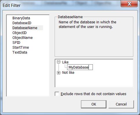 Softminer Net: How to filter sql profiler on database name