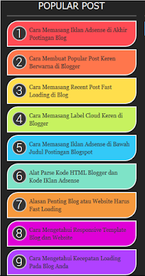 cara membuat popular post warna warni di blogspot