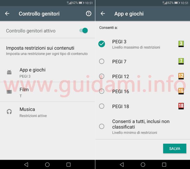 Impostazioni Google Play schermata Imposta restrizioni sui contenuti