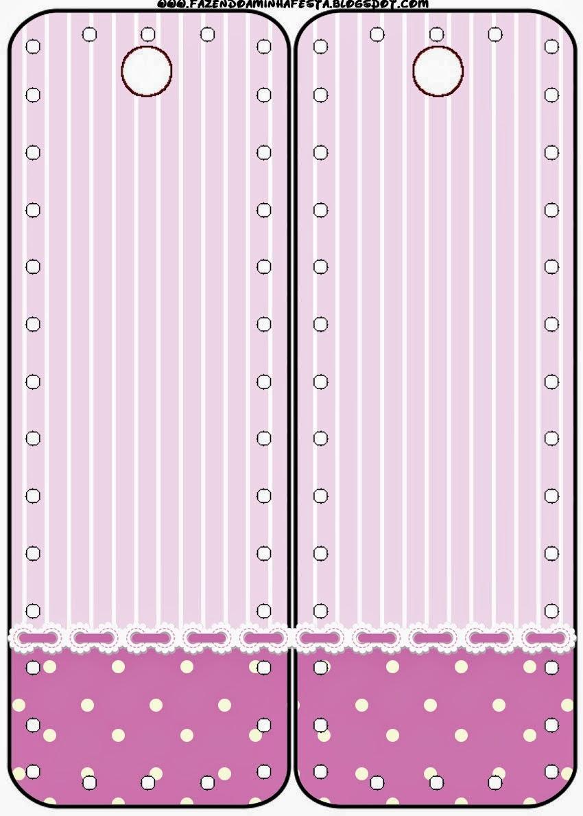 Marcapaginas para Imprimir Gratis de Rayas y Lunares en Lila y Blanco.