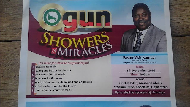 It promises to be a time of the harvest of Great Miracles Of Salvation, Healings, And Deliverances, As Pastor W. F. Kumuyi visits Ogun State Again, with the simple gospel of our Lord and Saviour Jesus.  DATE : November 11, 2016 VENUE : The Cricket Pitch Mko Abiola Stadium, Abeokuta.  TIME: 5.00PM  You Can't Afford To Miss It This Time.