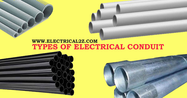 types of electrical conduit, electrical conduit pipe types, electrical metallic tubing, electrical nonmetallic tubing, rigid metal conduit @electrical2z