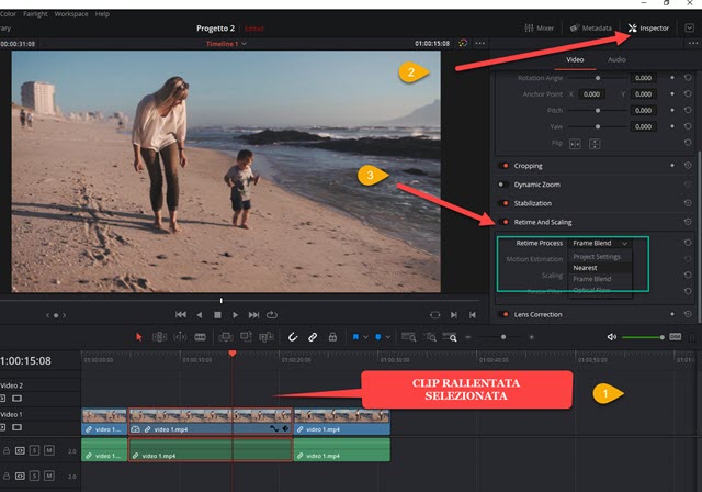 rendere fluido lo slow motion di una clip con davinci resolve