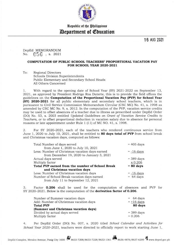 DepEd Memorandum DM No.056, s. 2021   COMPUTATION OF PUBLIC SCHOOL TEACHERS' PROPORTIONAL VACATION PAY FOR SCHOOL YEAR 2020-2021