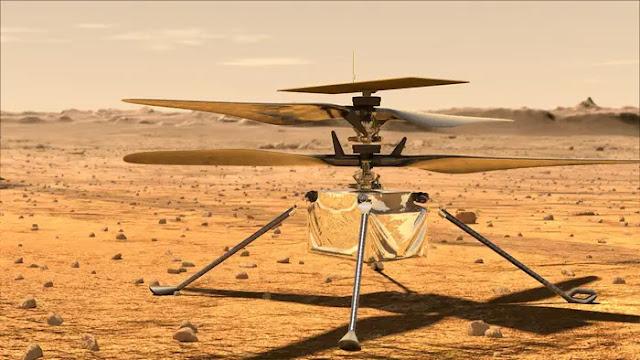 Ilustração artística do helicóptero Ingenuity em Marte