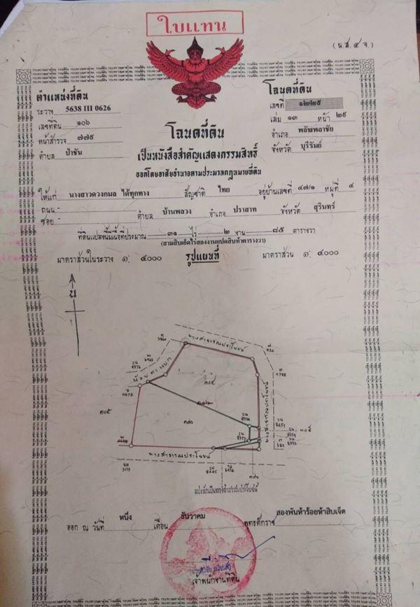 ขายที่ดินแปลงสวยติดห้วยตะแบกติดถนนหมู่บ้าน อ.พลับพลาชัย บุรีรัมย์ 14 ไร่ 265 ตรว.