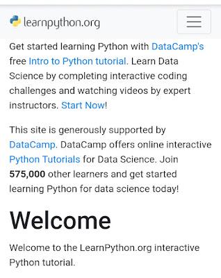 واجهة موقع learnpython.org لتعلم لغة البرمجة بايثون
