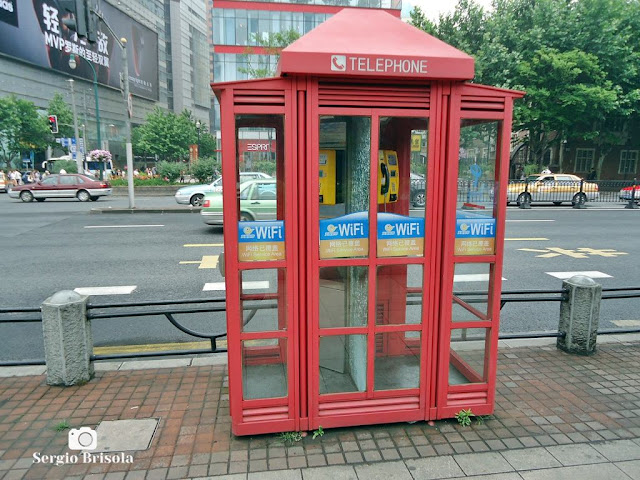 English style phone booth in Shanghai