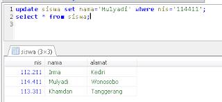 3. mengubah data dalam tabel dengan perintah update mysql